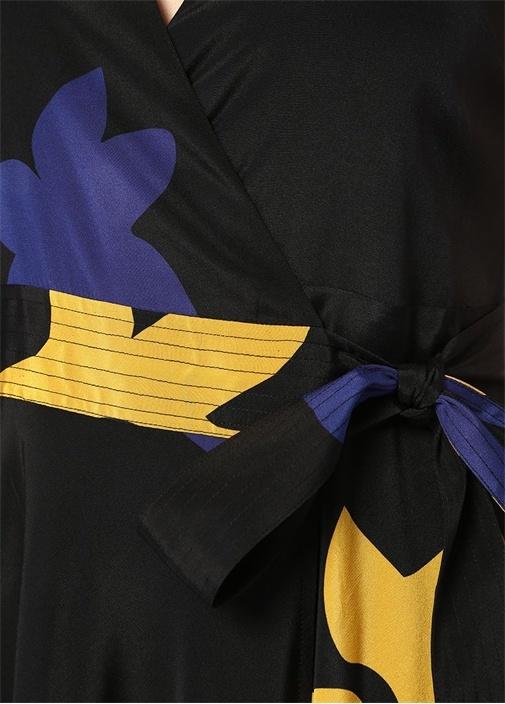Siyah Çiçekli Kolsuz Midi İpek Anvelop Elbise