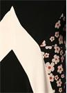 Siyah Çiçekli Garni Detaylı Midi Krep Elbise
