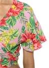Mai Tai Pembe V Yaka Çiçekli Crop Anvelop Bluz