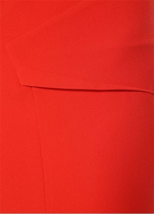 Abrams Kırmızı Yırtmaç Detaylı Midi Etek