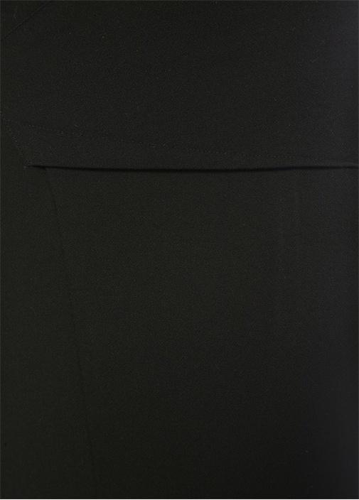Abrams Siyah Yırtmaç Detaylı Midi Etek