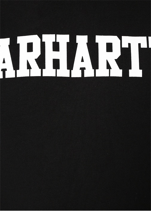 Siyah Kapüşonlu Logo Baskılı Sweatshirt