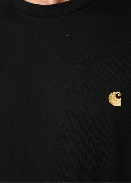 Siyah Gold Bisiklet Yaka Logo Jakarlı T-shirt