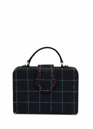 Mehry Mu Kadın Fey Siyah Yeşil Kareli Kutu Çanta Gri Ürün Resmi