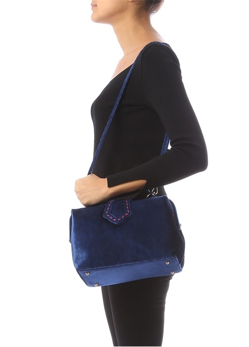Jung Lacivert Kadın Kadife Çanta