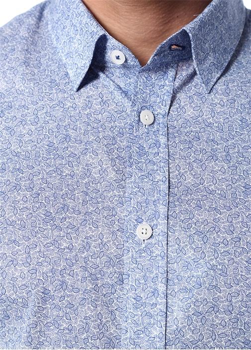 Custom Fit Mavi Mikro Çiçek Desenli Gömlek