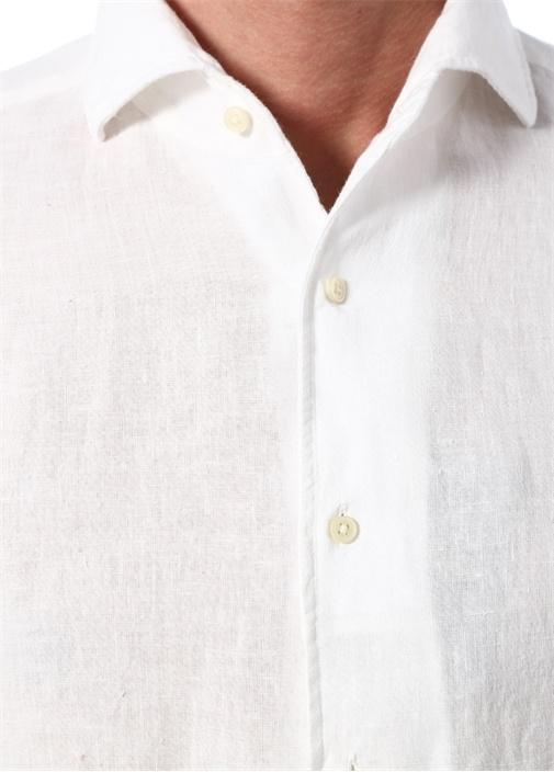 Regular Fit Beyaz İtalyan Yaka Keten Gömlek