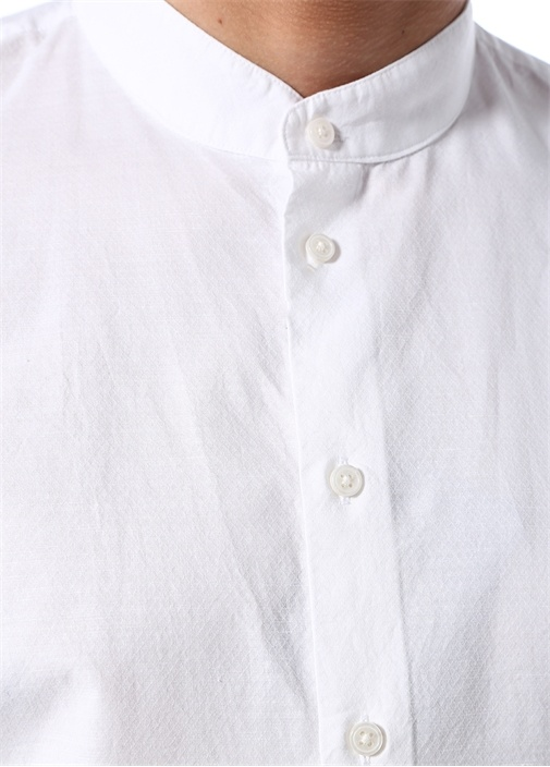 Slim Fit Beyaz Dik Yaka Gömlek