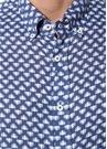 Lacivert Düğmeli Yaka Mikro Desenli Keten Gömlek