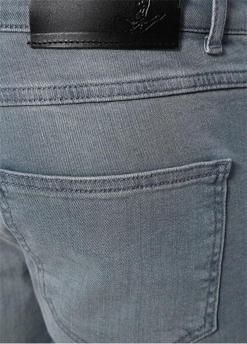 Slim Fit Gri Logolu Jean Pantolon