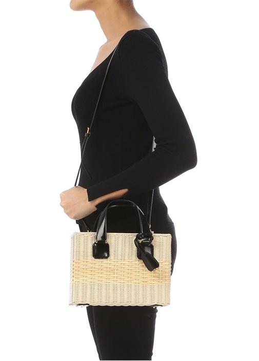 Manray Bej Sepet Dokulu Kadın Çanta