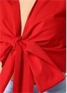 Kırmızı Önü Bağcıklı Kolsuz Crop Bluz