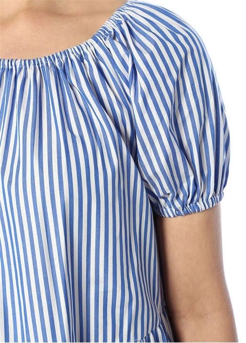 Mavi Beyaz Çizgili Balon Kol Midi Elbise