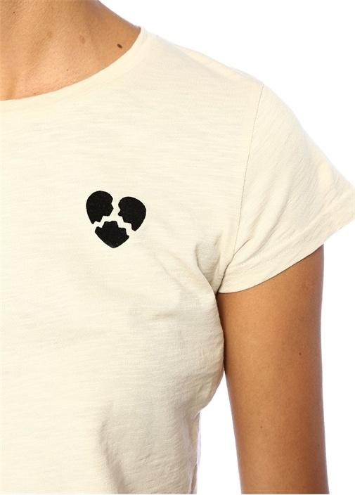 Broken Heart Bisiklet Yaka Patchli CropT-shirt