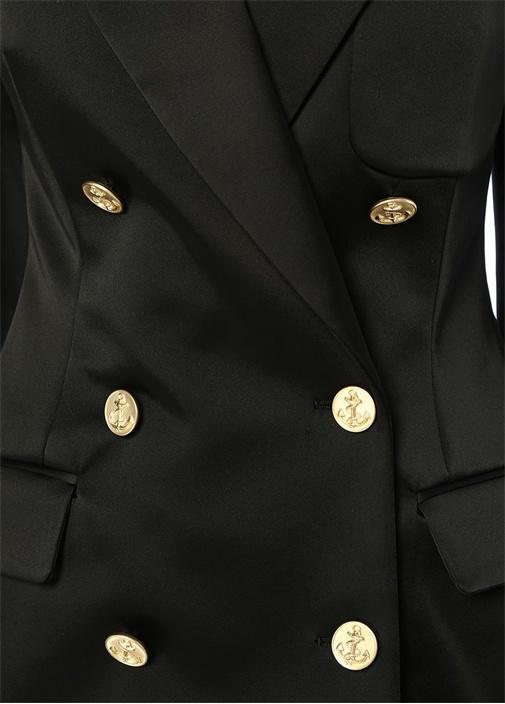 90s Siyah Gold Düğmeli Kruvaze Saten Blazer Ceket