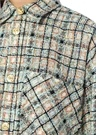 Gold Düğmeli Simli Oversize Tweed Dış Gömlek