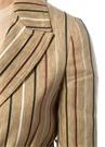 Bej Kırlangıç Yaka Çizgili Kuşaklı Keten Ceket