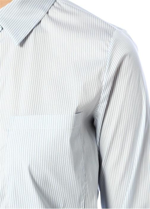 Mavi İngiliz Yaka Çizgili Cep Detaylı Gömlek