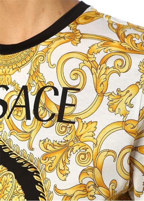 Gold Beyaz Logo Baskılı Çiçek Motifli T-shirt