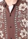 Baton Kahverengi Apaç Yaka Çiçekli Gömlek