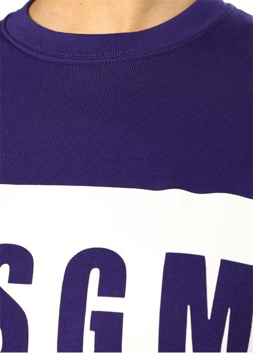 Mor Bisiklet Yaka Blok Logo Baskılı Sweatshirt