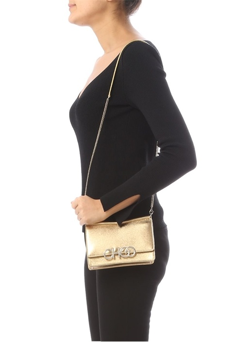 Sidney Gold Taşlı Logo Detaylı Kadın Deri Çanta