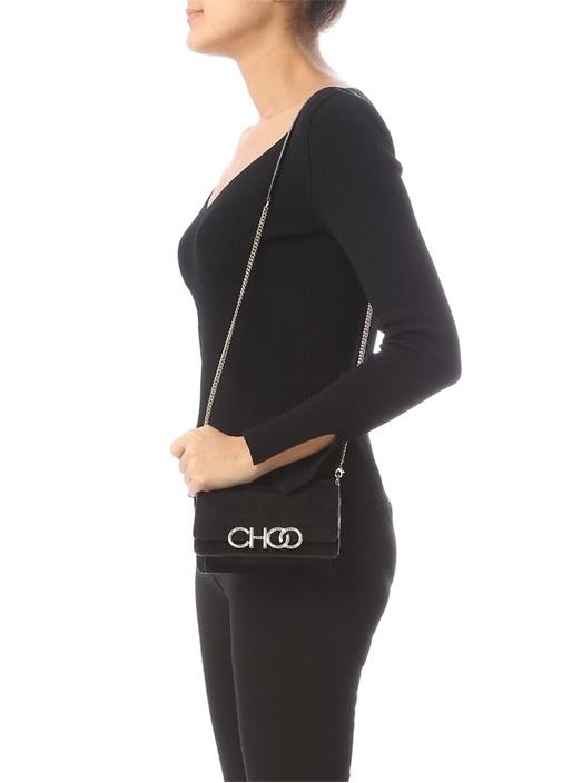 Sidney Siyah Taşlı Logo Detaylı Kadın Süet Çanta