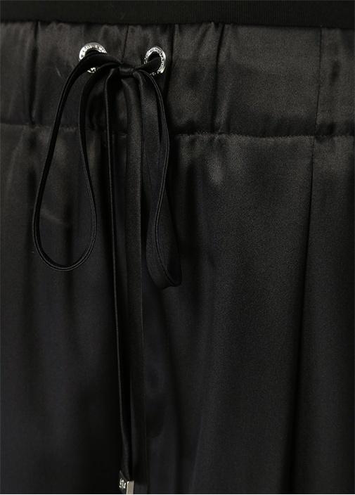 Siyah Yüksek Bel Bol Paça İpek Pantolon