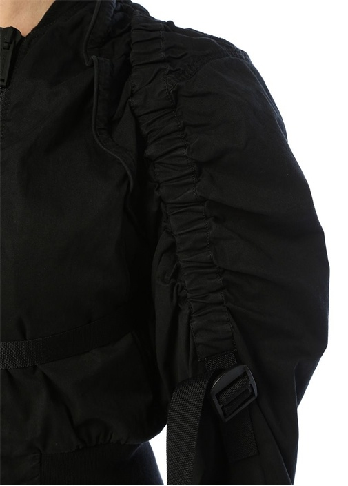 Siyah Dik Yaka Büzgülü Streç Bomber Ceket