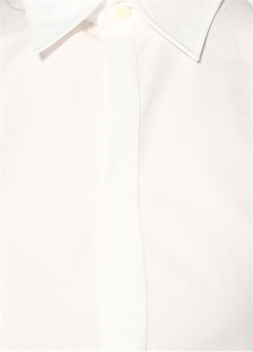 Beyaz İngiliz Yaka Crop Poplin Gömlek