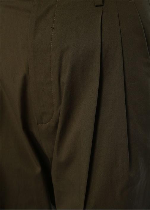 Haki Yüksek Bel Paçası Katlı Pantolon
