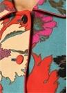 Mavi Çiçek Desenli Düğmeli Yün Ceket