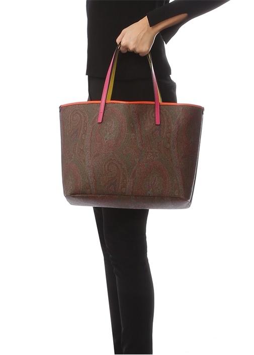 Kahverengi Etnik Desenli Kadın Çanta
