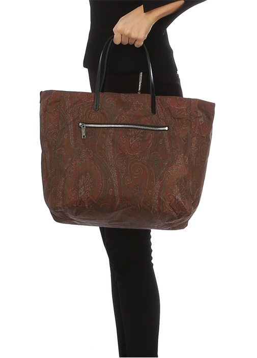 Kahverengi Pembe Desenli Kadın Alışveriş Çantası