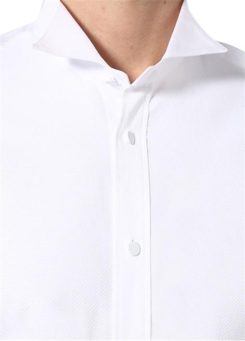 Slim Fit Ata Yaka Dokulu Smokin Gömleği