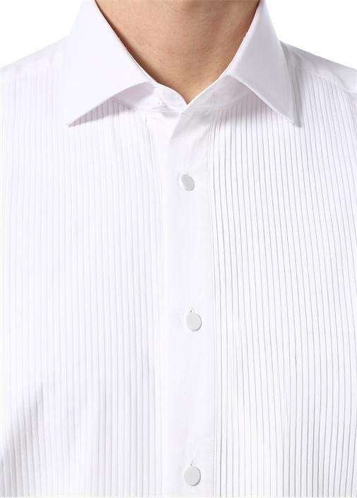 Beyaz Pilise Detaylı Smokin Gömleği