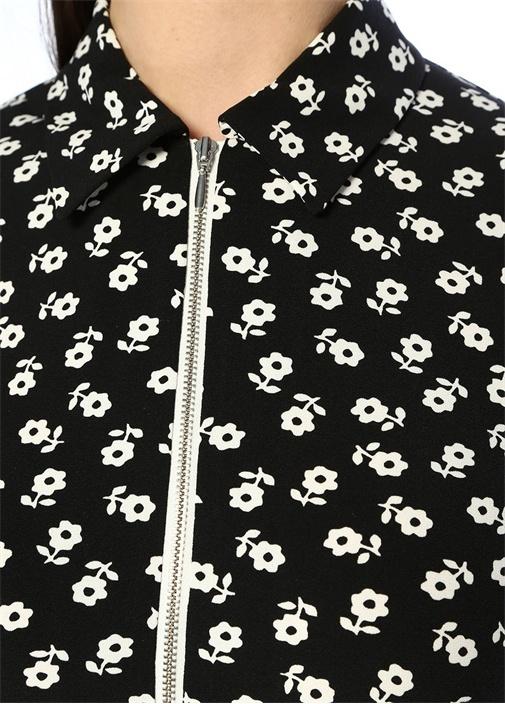 Siyah Çiçekli Önü Fermuarlı Kısa Kol Midi Elbise