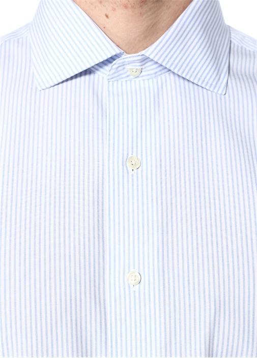 Mavi Beyaz Çizgili Kesik Yaka Gömlek