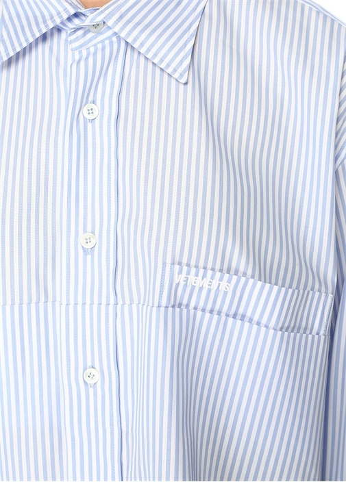 Mavi Sivri Yaka Çizgili Oval Kesim Oversize Gömlek