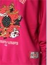 Fuşya Kapüşonlu Nakışlı Oversize Sweatshirt
