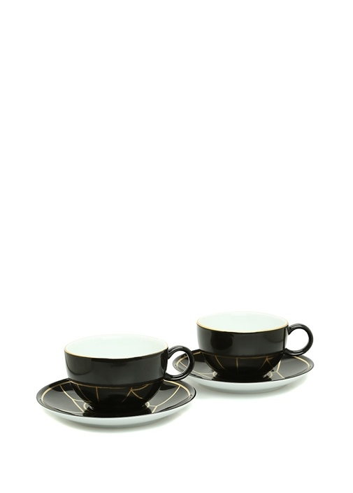 Siyah Gold Desenli 2li Porselen Çay Fincanı Seti