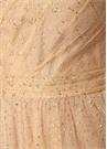 Bej Tek Omuzlu İşlemeli Maksi Tül Abiye Elbise