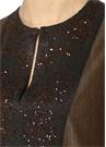 Kahverengi Önü İşleme Detaylı Kolsuz Mini Elbise