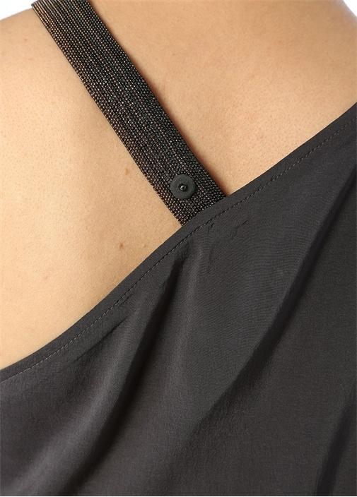 Antrasit Zincir Askılı Asimetrik İpek Bluz