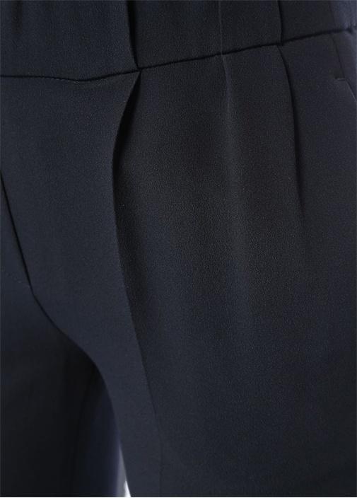Lacivert Yüksek Bel Pileli Dar Paça İpek Pantolon