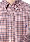 Mavi Turuncu Düğmeli Yaka Logolu Gömlek