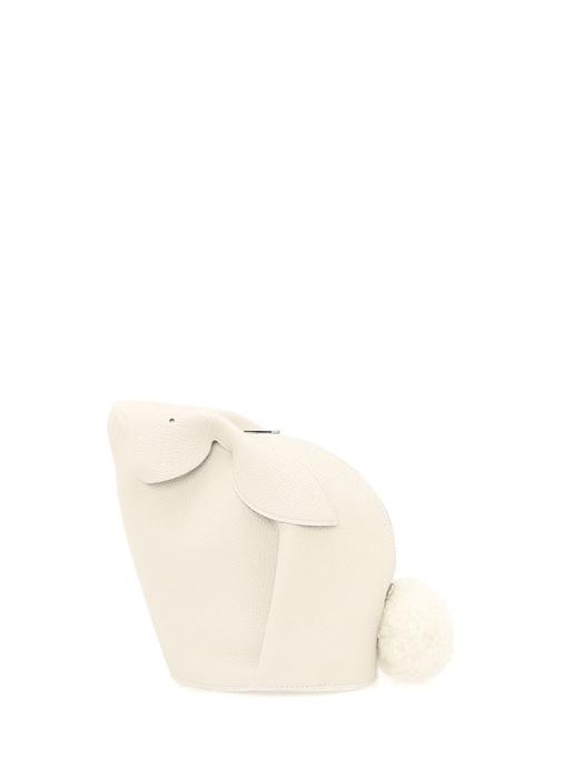 Bunny Mini Beyaz Ponponlu Kadın Deri ElPortföyü