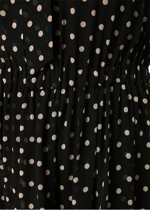 Siyah V Yaka Puantiyeli Fırfırlı Mini İpek Elbise