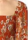 Turuncu Kare Yaka Çiçekli Maksi İpek Elbise