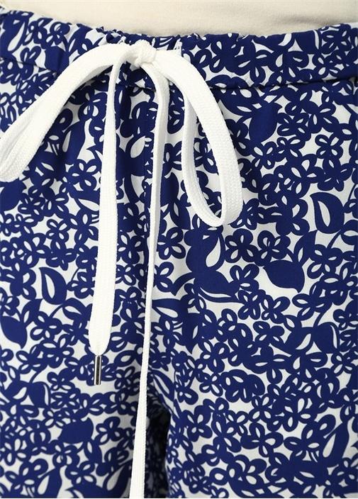 Mavi Yüksek Bel Çiçekli Crop Pantolon